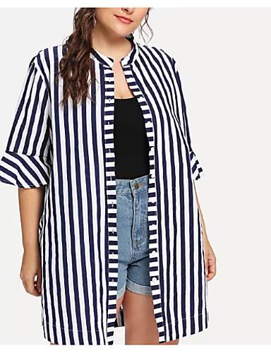 billige Dametopper-Bomull Løstsittende Store størrelser Skjorte Dame - Stripet, Lapper Grunnleggende Blå / Sommer