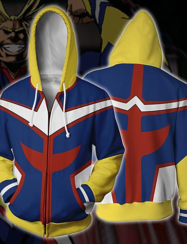 cheap Anime Cosplay-Inspired by My Hero Academy Battle For All / Boku no Hero Academia All Might Coat Hoodie Terylene Cartoon Stylish Hoodie For Women's / Men's