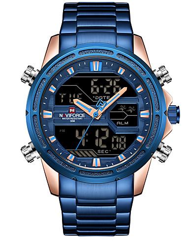 a02075f6689 NAVIFORCE Homens Relógio Esportivo Relógio Militar Relogio digital Japanês  Quartzo Japonês Aço Inoxidável Preta   Azul   Dourada 30 m Alarme  Calendário ...