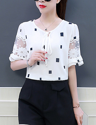 billige Dametopper-Puffermer Løstsittende T-skjorte / Bluse Dame - Geometrisk, Drapering / Netting / Blondér Grunnleggende / Gatemote Arbeid Svart