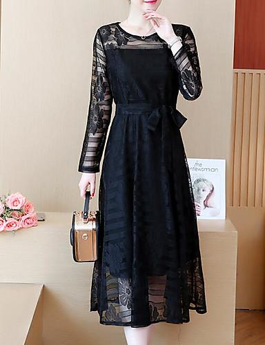 preiswerte Damenbekleidung-Damen Übergrössen Ausgehen A-Linie Kleid - Spitze, Solide Midi Schwarz