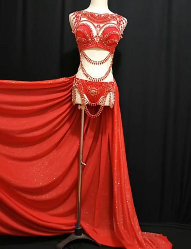 preiswerte Exotic Dancewear-Exotische Tanzkleidung Strass Bodysuit / Club Kostüm Damen Leistung Elasthan Kristalle / Strass Niedrig Röcke / BH / Unterhose
