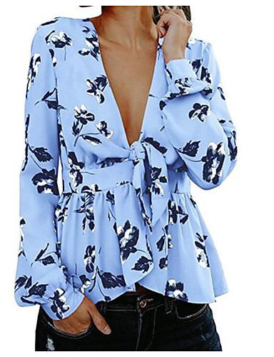 billige Dametopper-Tynn V-hals Skjorte Dame - Blomstret Ut på byen Blå