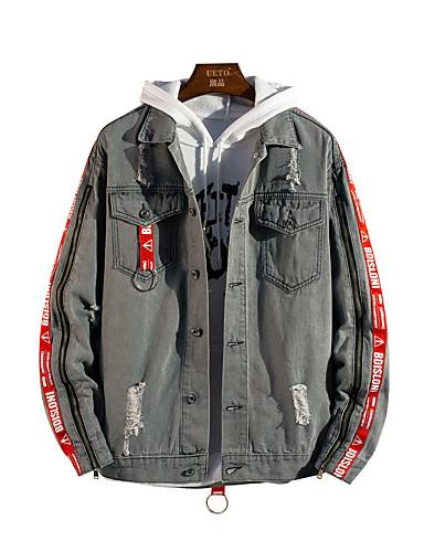 b0ad284c198 Men s Daily Basic   Street chic Spring   Fall Plus Size Regular Denim Jacket