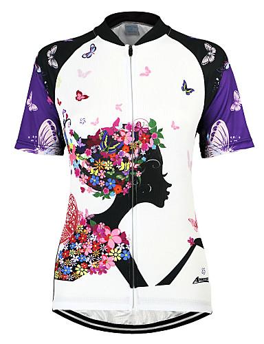 povoljno Odjeća za vožnju biciklom-Arsuxeo Žene Kratkih rukava Biciklistička majica purpurna boja Cvjetni / Botanički Bicikl Biciklistička majica Majice Brdski biciklizam biciklom na cesti Prozračnost Quick dry Anatomski dizajn
