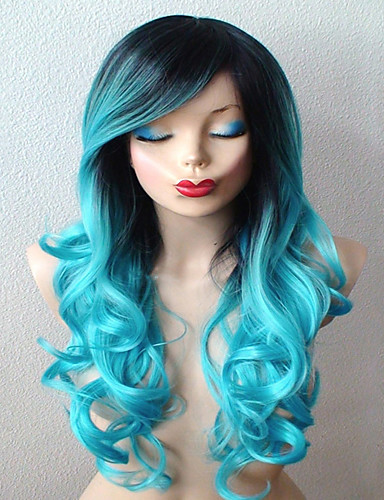 cheap Cosplay Wigs-Synthetic Wig Cosplay Wig Curly Curly With Bangs Wig Long Smoke Blue Synthetic Hair Women's Ombre Hair Dark Roots Side Part Blue