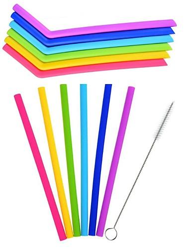 preiswerte Drinkware Zubehör-6pcs / lot wiederverwendbare silikonstroh trinkhalm für home party barware zubehör mit sauberen pinsel set barware gadgets