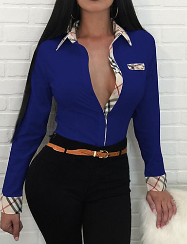billige Dametopper-Tynn Skjortekrage Skjorte Dame - Fargeblokk Ut på byen / Arbeid Blå