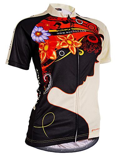 povoljno Biciklističke majice-Nuckily Žene Kratkih rukava Biciklistička majica Crn Cvjetni / Botanički Bicikl Biciklistička majica Majice Brdski biciklizam biciklom na cesti Prozračnost Ultraviolet Resistant Reflektirajuće trake