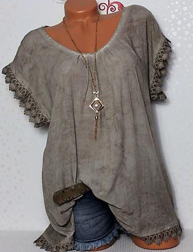 billige Skjorter til damer-Store størrelser Skjorte Dame - Ensfarget Grunnleggende Fuksia / Sexy