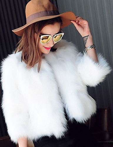 cheap Women's Furs & Leathers-Women's Holiday Short Fur Coat, Solid Colored Round Neck Long Sleeve Faux Fur White / Black