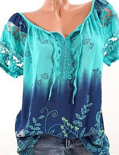 billige Skjorter til damer-Båthals Store størrelser Skjorte Dame - Batikkfarget Vin / Sommer