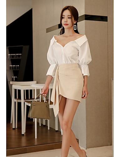 preiswerte Bodycon für den Klub-Damen Grundlegend Aufflackern-Hülsen- Baumwolle Schlank Bodycon Kleid - mit Schnürung Patchwork, Solide Einfarbig Übers Knie V-Ausschnitt / Sexy