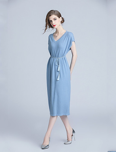 4c9aed58c32 Women s Daily Basic Loose Shift   Sweater Dress Lace up V Neck Fall Blue XL  XXL XXXL 6943628 2019 –  37.99