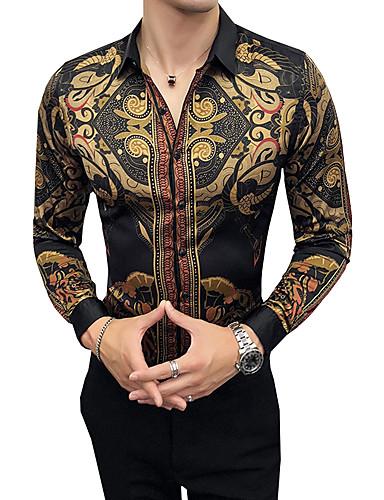 voordelige Herenoverhemden-Heren Vintage Overhemd Feest / Werk / Club Tribal Klassieke boord Slank Bruin / Lange mouw / Herfst
