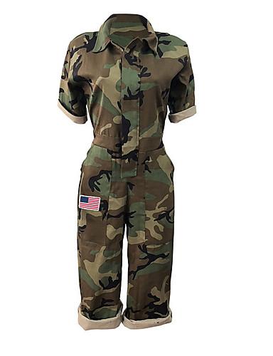 2436567f042 Women's Sports / Beach Basic Deep V Army Green Slim Jumpsuit, Camo /  Camouflage Patchwork / Print L XL XXL Cotton Half Sleeve / Sexy 6914901  2019 – $27.02