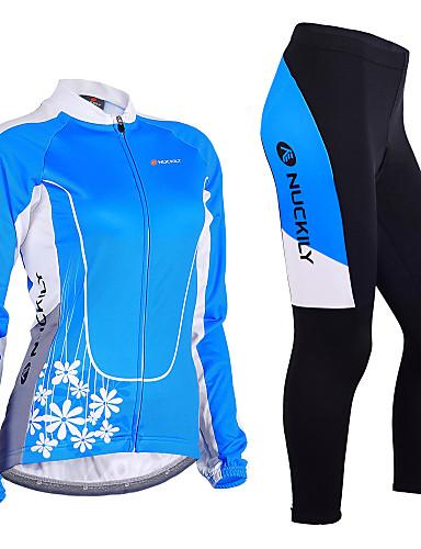 povoljno Odjeća za vožnju biciklom-Nuckily Žene Dugih rukava Biciklistička majica s tajicama Plava Cvjetni / Botanički Bicikl Sportska odijela Vjetronepropusnost Prozračnost Pad 3D Anatomski dizajn Reflektirajuće trake Sportski