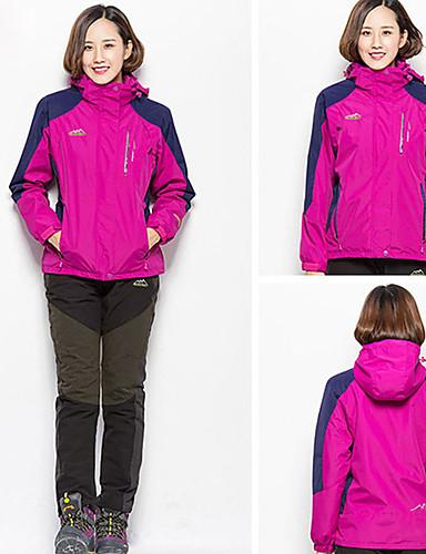 cheap Softshell, Fleece & Hiking Jackets-Women's Hiking 3-in-1 Jackets Hiking Jacket Winter Outdoor Solid Color Thermal / Warm Waterproof Windproof Breathable Jacket 3-in-1 Jacket Fleece Full Length Visible Zipper Camping / Hiking Ski