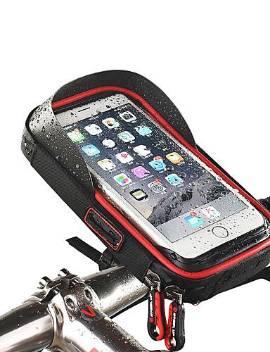 billige Sykling-Wheel up Mobilveske Vesker til sykkelstyre Berøringsskjerm Vanntett Hodetelefonhull Sykkelveske TPU Svamp Nylon Sykkelveske Sykkelveske iPhone X / iPhone XR / iPhone XS Fjellsykkel Veisykling