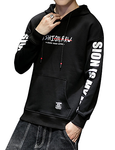 5c4d80d3e08 Men s Plus Size Sports Active   Street chic Long Sleeve Slim Hoodie - Solid  Colored   Striped   Letter Print Hooded Black XL   Spring   Fall 6920672  2019 – ...
