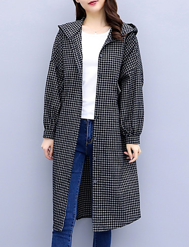 detailed look moderate price cozy fresh [$31.29] Women's Daily Long Trench Coat, Plaid / Checkered Hooded Long  Sleeve Cotton Blue / Black L / XL / XXL