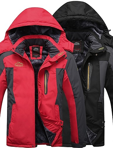 cheap Outdoor Clothing-Men's Hiking Jacket Winter Outdoor Thermal Warm Windproof Breathable Rain Waterproof Fleece Winter Jacket Top Black Red Army Green Blue Camping / Hiking Hunting Fishing M L XL XXL XXXL / Long Sleeve