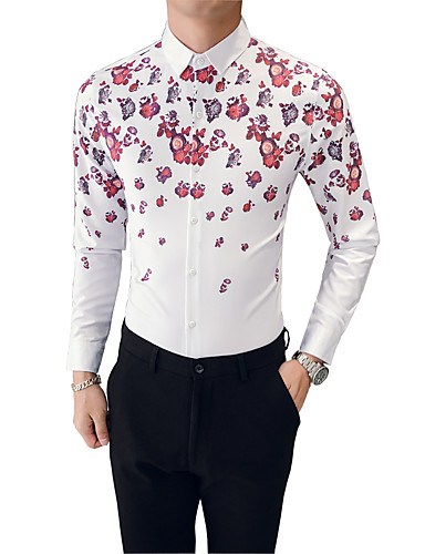 Blommig Bomull Skjorta Herr Smal   Långärmad 6940368 2019 –  26.21 d84be2dabf401