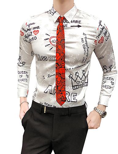 voordelige Herenoverhemden-Heren Vintage Overhemd Kleurenblok / Letter Klassieke boord Slank Wit / Lange mouw / Herfst