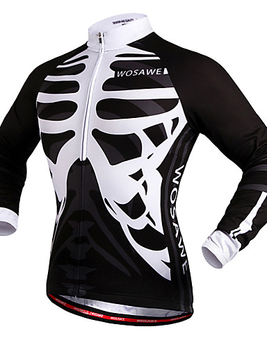 povoljno Biciklističke majice-WOSAWE Muškarci Žene Biciklistička majica Bicikl Biciklistička majica Majice Vjetronepropusnost Reflektirajuće trake Povratak džep Sportski Skeleton White / Black Brdski biciklizam biciklom na cesti