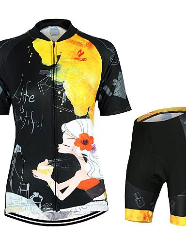 ราคาถูก ลดล้างสต็อกครั้งใหญ่-Arsuxeo สำหรับผู้หญิง แขนสั้น Cycling Jersey with Shorts สีดำ+สีเหลือง ลวดลายดอกไม้ / เกี่ยวกับพฤษศาสตร์ จักรยาน ชุดออกกำลังกาย ระบายอากาศ แห้งเร็ว ออกแบบตามสรีระ กระเป๋าหลัง กีฬา / Elastane / ยืด