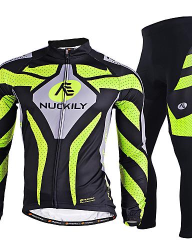 povoljno Odjeća za vožnju biciklom-Nuckily Muškarci Dugih rukava Biciklistička majica s tajicama Zelen Bicikl Sportska odijela Vjetronepropusnost Prozračnost Quick dry Ultraviolet Resistant Reflektirajuće trake Sportski Poliester Likra