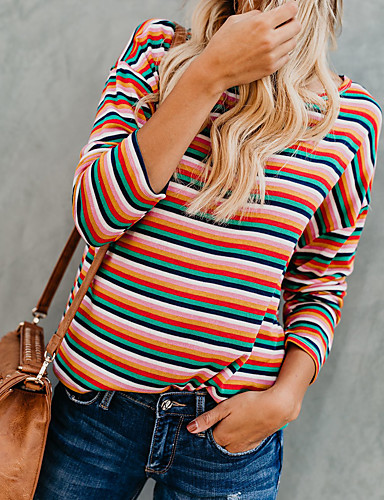billige Dametopper-T-skjorte Dame - Fargeblokk Regnbue