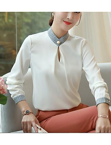 Løstsittende V-hals Skjorte Dame - Ensfarget Grunnleggende Arbeid Hvit