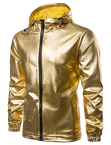 cheap Sale-Men's Daily / Sports Fall & Winter Regular Jacket, Solid Colored Hooded Long Sleeve Polyester Gold / Black / Silver