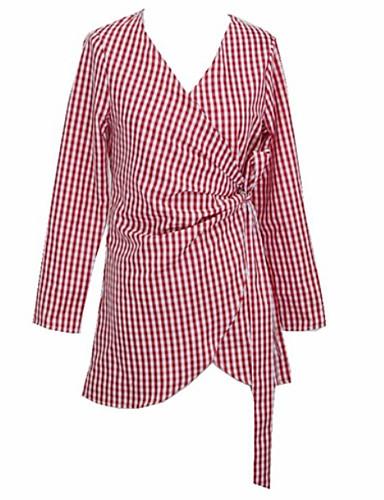 7491f80b4a Women s Daily Beach Basic Slim Shirt Dress - Plaid Lace up High Waist Deep  V Fall Red M L XL 6918108 2019 –  18.99
