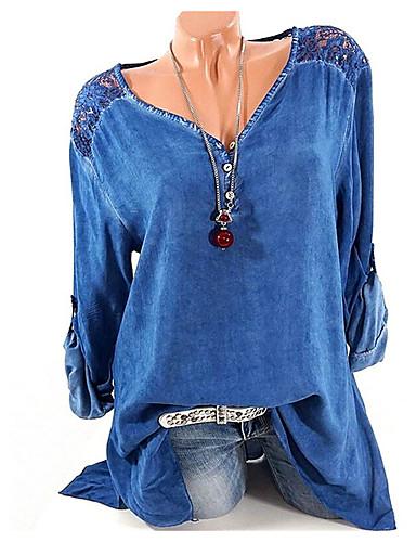 billige Dametopper-V-hals Skjorte Dame - Grafisk Blå