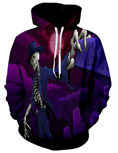 aef704fa1971 Men s Plus Size Basic   Exaggerated Long Sleeve Loose Hoodie - 3D    Character   Skull Print Hooded Purple XL   Fall   Winter 6918884 2019 –   24.19