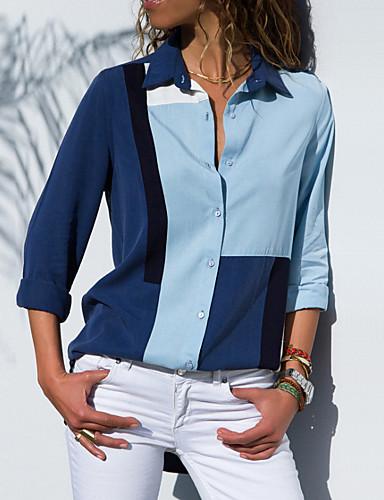 billige Dametopper-Tynn Skjortekrage Store størrelser Bluse Dame - Fargeblokk Grunnleggende Blå