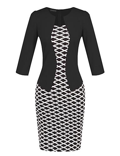 levne Pracovní šaty-Dámské Práce Vintage Základní Štíhlý A Line Bodycon Šaty - Kostičky, Šněrování Nad kolena Vysoký pas