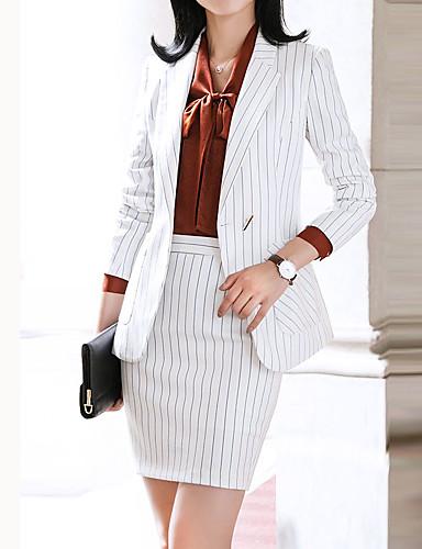 billige Dametopper-Dame Arbeid Forretning Normal Blazer, Stripet Hakkjakkeslag Langermet Polyester Hvit / Svart / Tynn