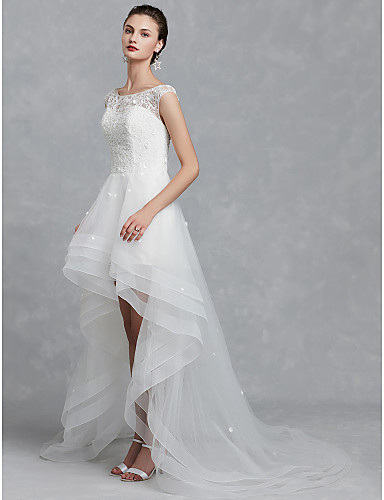 cheap Wedding Dresses-A-Line Bateau Neck Asymmetrical Lace / Tulle Cap Sleeve Formal / Casual / Vintage Sparkle & Shine / Illusion Detail / Backless Wedding Dresses with Beading / Appliques 2020