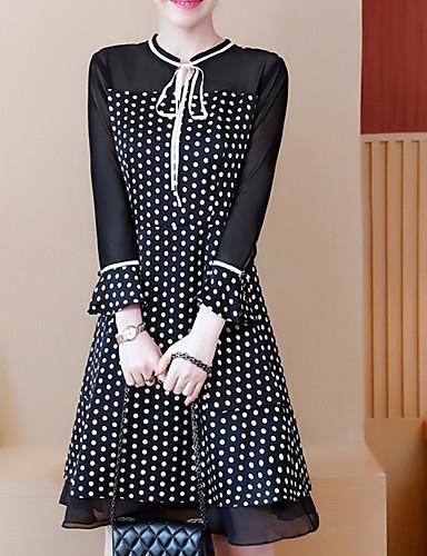f8e8452479 Mujer Tallas Grandes Básico Algodón Delgado Línea A Vestido - Acordonado  Retazos Estampado