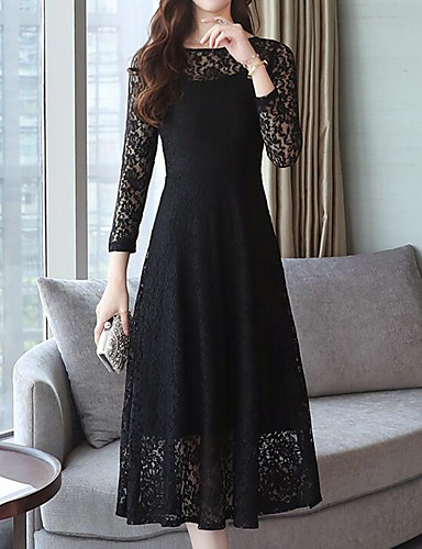 7979d58fbc4 Women s Plus Size Party Work Street chic Sophisticated Slim Shift Swing  Dress - Solid Colored Mesh Lace Trims Summer Black Red XL XXL XXXL   Sexy  6920878 ...