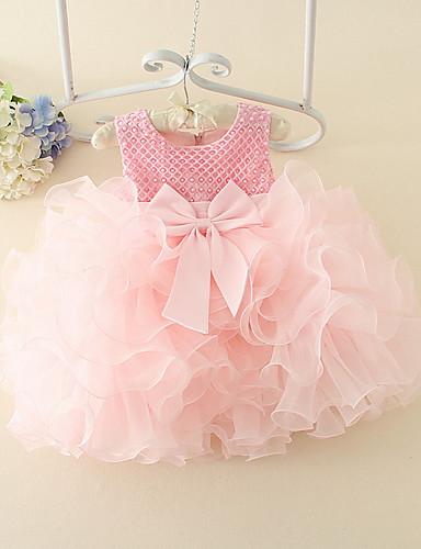 رخيصةأون هدايا بنات الزهور-فستان قطن بدون كم لون سادة أساسي للفتيات طفل / طفل صغير