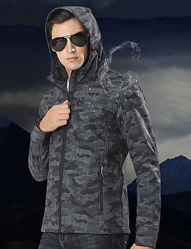 cheap Softshell, Fleece & Hiking Jackets-Men's Hiking Softshell Jacket Winter Outdoor Camo Windproof Breathable Quick Dry Stretchy Jacket Elastane Softshell Single Slider Hunting Hiking Climbing Black / Camouflage / Grey / Long Sleeve