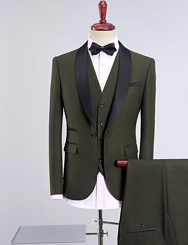 preiswerte Hochzeiten & Feste-Smoking Weite Passform Schalrevers Einreiher - 1 Knopf Polyester / Baumwollmischung Solide