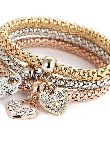 preiswerte Armband Rosegold-3 Stück Damen Armband mit Anhänger Mehrlagig Herz damas Süß Italienisch Strass Armband Schmuck Rotgold Für Zeremonie Party