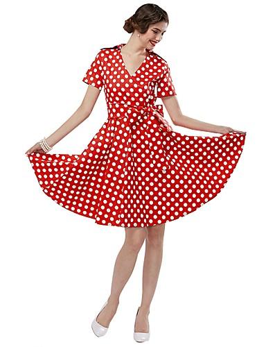 Dámské Vintage A Line Šaty - Puntíky 73fa2b16c8