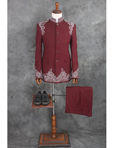 パターン柄 テイラーフィット コットン / ポリエステル スーツ - ノッチドラペル シングルブレスト 一つボタン