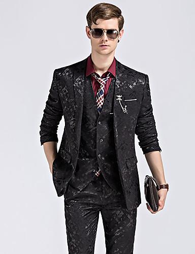 Tuxedos Standardni kroj Stepenasti Droit 1 bouton Poliester Jednobojni / Damast